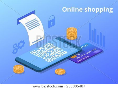 Online Shopping Vector Illustration For Digital Retail And Mobile Trade. Credit Card, Money Coins An