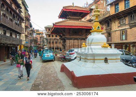 Kathmandu, Nepal-13.04.2018: In The Narrow Streets Of The Capital On 13 April 2018 Kathmandu, Nepal.