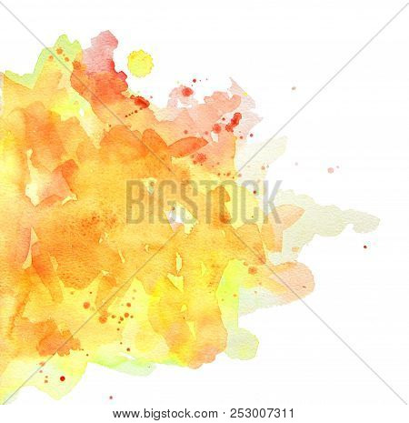 Abstract Spots Yellow And Orange Watercolor On White Background. The Color Splashing In The Paper. I