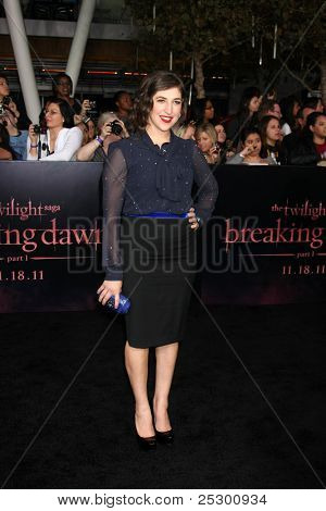 """LOS ANGELES - NOV 14:  Mayim Bialik arrives at the """"Twilight: Breaking Dawn Part 1"""" World Premiere at Nokia Theater at LA LIve on November 14, 2011 in Los Angeles, CA"""