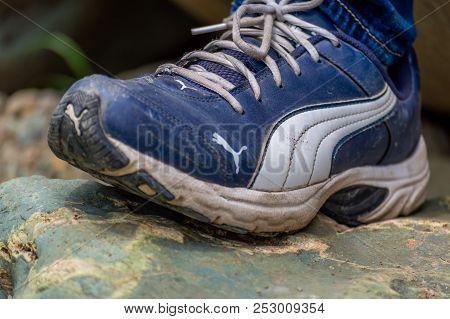 Srinagar, Jammu And Kashmir, India: Date- July 20, 2018: Puma Shoes Used On A Rocky Terrain