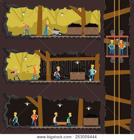 Men Extract Coal In The Mine. Coal Industry, Mine With Many Levels, Workers, Lift And Appliances. Ve