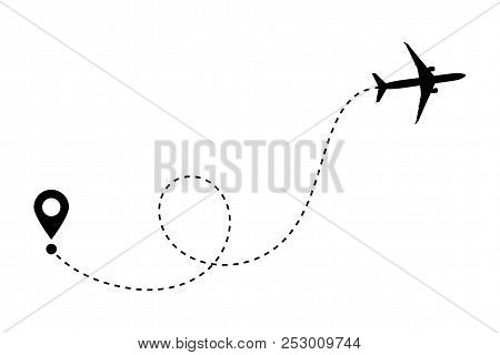Airplane Line Path Vector Icon Of Air Plane Flight Route With Start Point And Dash Line Trace. Aircr