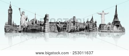 World Travel And Sights. Famous Landmarks Of The World Grouped Together. Watercolor Hand Drawn Paint