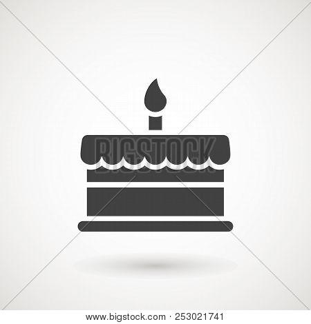 Birthday Cake Icon Vector Illustration. Happy Birthday. Cake For Birthday Celebration.