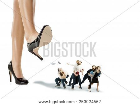 Scared And Shocked Team Of Young Business Men And Women Under Female Lady Boss Pressure. Concept Hor