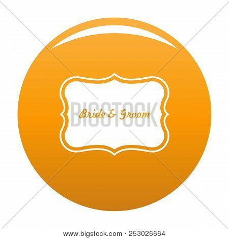 Just Married Label Icon. Simple Illustration Of Just Married Label Vector Icon For Any Design Orange