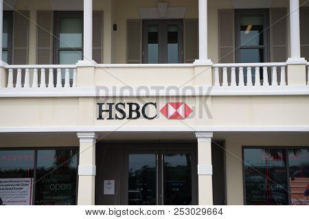 Hamilton, Bermuda - March, 20, 2016: Hsbc Bank Building. Office Entrance Into Hsbc Bank. Hsbc Bank B