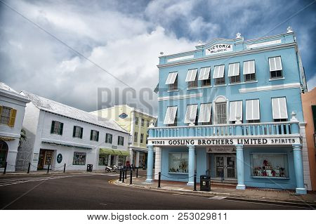 Hamilton, Bermuda - March, 20, 2016: Architecture And Street Turning. Houses Architecture On City St
