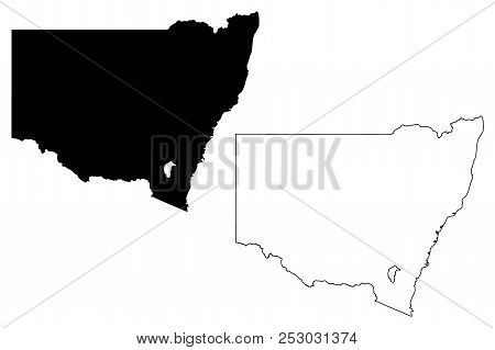 New South Wales (australian States And Territories, Nsw) Map Vector Illustration, Scribble Sketch Ne