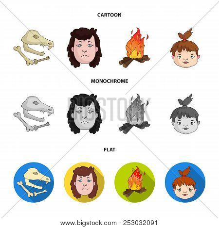 Woman, Hair, Face, Bonfire .stone Age Set Collection Icons In Cartoon, Flat, Monochrome Style Vector