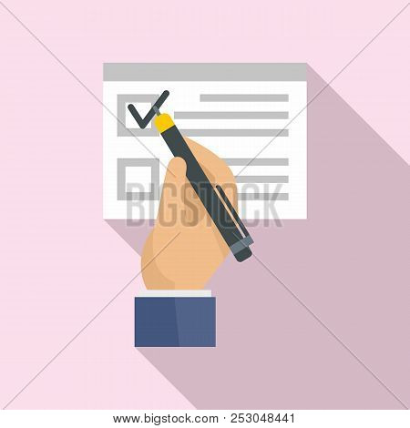 Vote Sign On Paper Icon. Flat Illustration Of Vote Sign On Paper Icon For Web Design