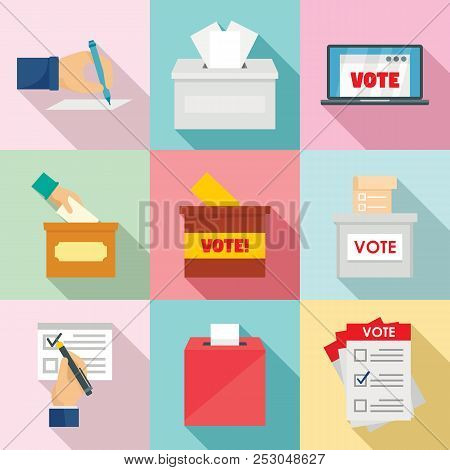Ballot Voting Box Vote Polling Icons Set. Flat Illustration Of 9 Ballot Voting Box Vote Polling Icon