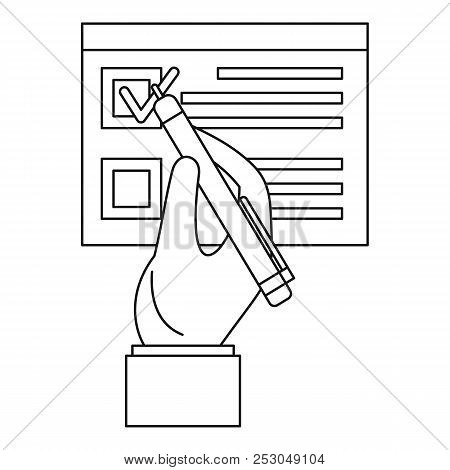 Vote Sign Paper Icon. Outline Vote Sign Paper Icon For Web Design Isolated On White Background