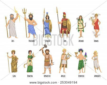 Pantheon Of Ancient Greek Gods, Mythology. Set Of Characters With Names. Flat Vector Illustration. I