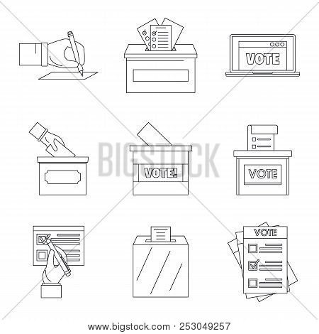 Ballot Voting Box Vote Polling Icons Set. Outline Illustration Of 9 Ballot Voting Box Vote Polling I