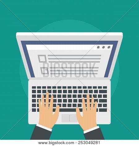Laptop Online Vote Background. Flat Illustration Of Laptop Online Vote Background For Web Design