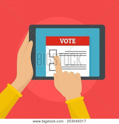 Online Voting Background. Flat Illustration Of Online Voting Background For Web Design