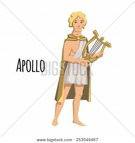 Apollo, Ancient Greek God Of Archery, Music, Poetry And The Sun With Lyre. Mythology. Flat Vector Il
