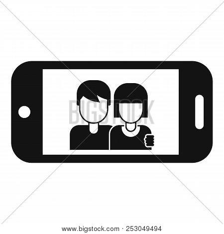 Couple Take Selfie Icon. Simple Illustration Of Couple Take Selfie Icon For Web Design Isolated On W