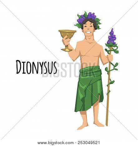 Dionysus, Acient Greek God Of Wine. Mythology. Flat Vector Illustration. Isolated On White Backgroun