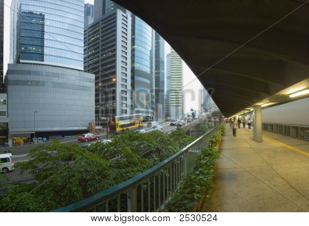 A Rainy Day At Central Hong Kong China Panoramic