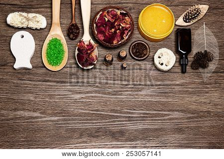 Spa Products And Accessories Flat Lay Set On Wooden Background. Natural Skincare Cosmetics. Free Spa