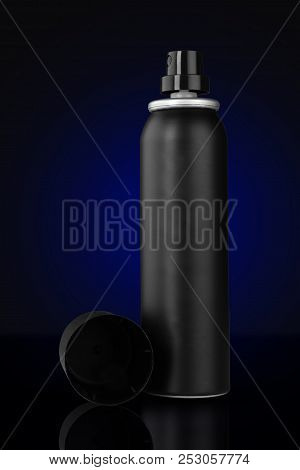 Black Deodorant Aluminum Can For Mockup On Blue Background