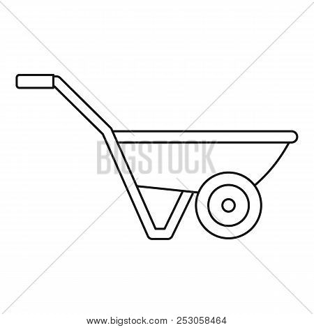 Hand Truck One Wheel Icon. Outline Hand Truck One Wheel Icon For Web Design Isolated On White Backgr