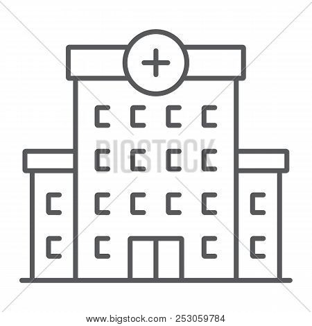 Hospital Thin Line Icon, Architecture And Building, Medical Center Sign, Vector Graphics, A Linear P