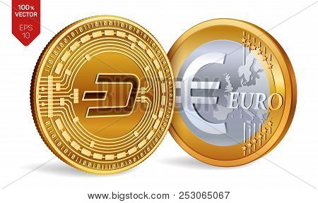Dash. Euro Coin. 3d Isometric Physical Coins. Digital Currency. Cryptocurrency. Golden Coins With Da