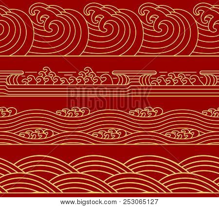 Water Chinese Sea Collection, Ocean Waves Theme, Trendy Retro Seamless Horizontal Pattern. Asian Jap