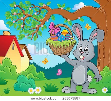 Bunny Holding Easter Basket Topic 2 - Eps10 Vector Picture Illustration.