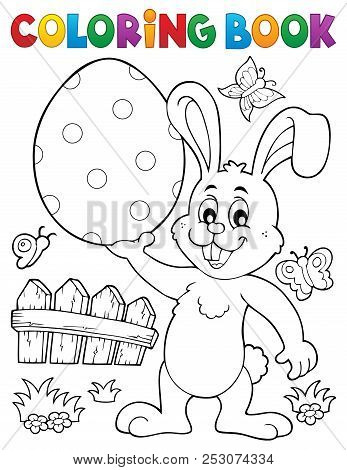 Coloring Book Easter Rabbit Theme 9 - Eps10 Vector Picture Illustration.