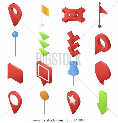 Map Pointer Pin Arrow Compass Icons Set. Isometric Illustration Of 16 Map Pointer Pin Arrow Compass