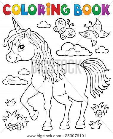 Coloring Book Happy Unicorn Topic 1 - Eps10 Vector Picture Illustration.