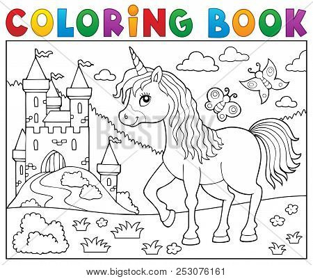 Coloring Book Happy Unicorn Topic 2 - Eps10 Vector Picture Illustration.