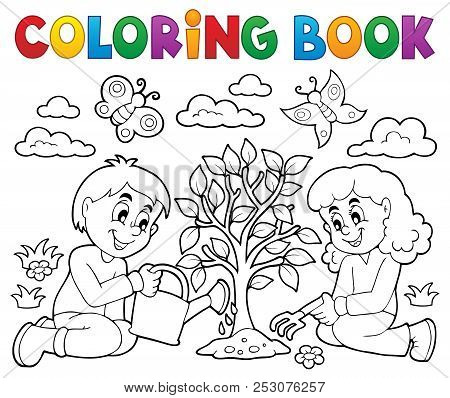 Coloring Book Kids Planting Tree - Eps10 Vector Picture Illustration.