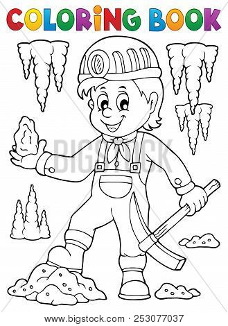 Coloring Book Miner Theme Image 1 - Eps10 Vector Picture Illustration.