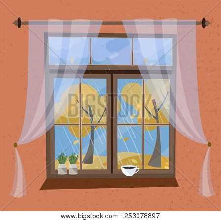 Autumn View From The Window With Cornice And Transparent Tulle. Closed Wood Window View To Indian Su