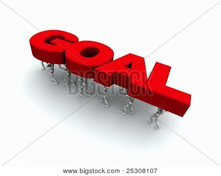 People Carrying The Word 'goal' Red