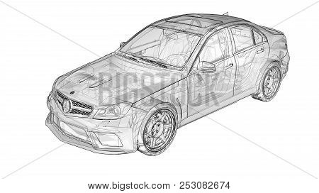 Transparent Super Fast Sports Car Delineated Lines On A White Background. Body Shape Sedan. Tuning I
