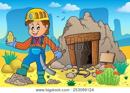 Miner Theme Image 2 - Eps10 Vector Picture Illustration.