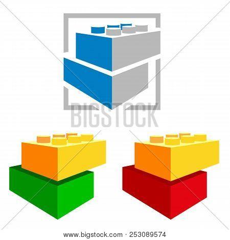 Building kit blocks. Construction logo. Colourful toys. poster
