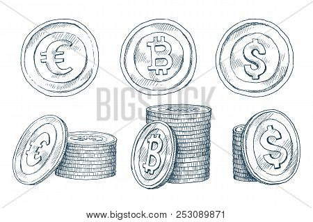 A Set Of Icons Of Coins On The Isolated White Background. Bank Notes Dollar, Bank Notes Euro, Bitcoi