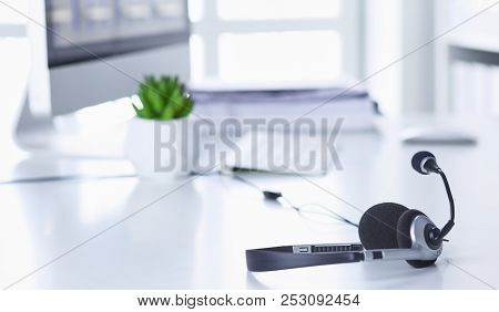 Communication Support, Call Center And Customer Service Help Desk. Voip Headset On Laptop Computer K