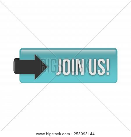 3d Glossy Join Us Action Web Button Vector Design. Web Button For Register.