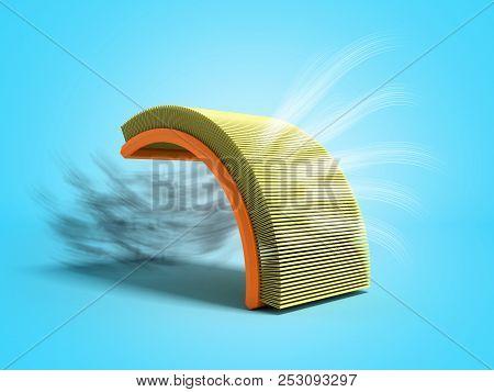 Car Air Filter 3d Render On Blue Background