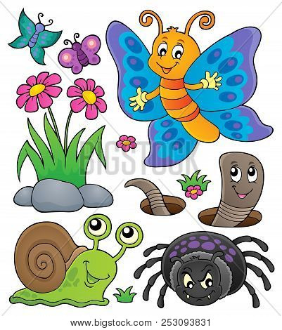 Spring Animals And Insect Theme Set 4 - Eps10 Vector Picture Illustration.