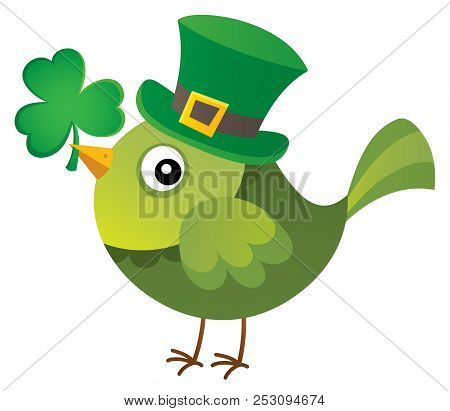 St Patricks Day Theme With Bird Image 1 - Eps10 Vector Picture Illustration.